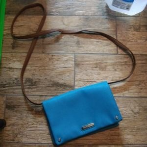 Dana Buchman mini blue and brown satchel